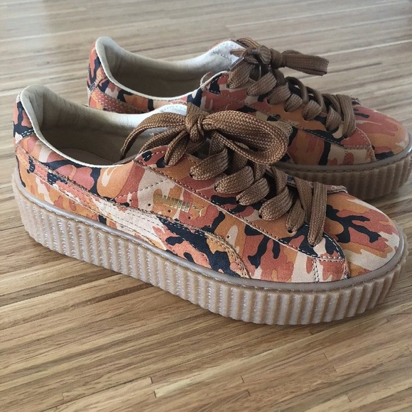cheap for discount 3b06c a9eb6 Fenty Puma by Rihanna Orange Camo Creepers